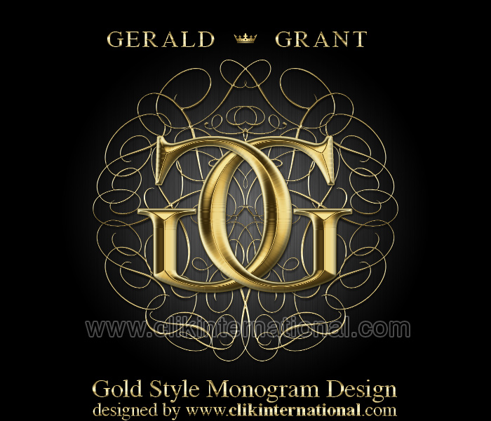 Monogram with Gold Style Lettering Design Template