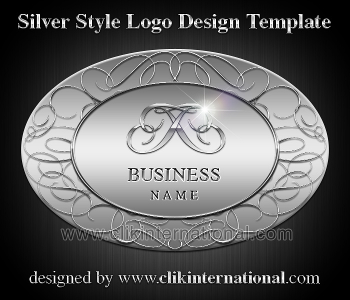 Silver Chrome Style Logo Design Template – Oval Shape and Swirls
